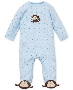 Little Me Baby Boys' Monkey Footed Coverall - Kids & Baby - Macy's