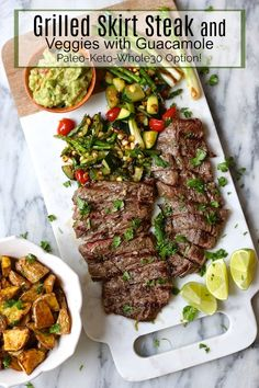 Skirt Steak and Grilled Veggies with Guacamole - Izandin Tutorial and Ideas Lamb Recipes, Mexican Food Recipes, Real Food Recipes, Cooking Recipes, Healthy Recipes, Healthy Dinners, Recipes Dinner, Skirt Steak Recipes, Chicken Marinade Recipes
