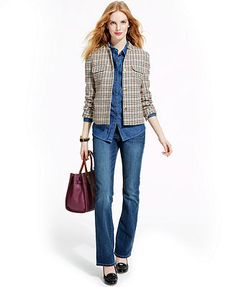 Tommy Hilfiger Cropped Houndstooth Jacket, Medium-Wash Denim Shirt & Bootcut Jeans