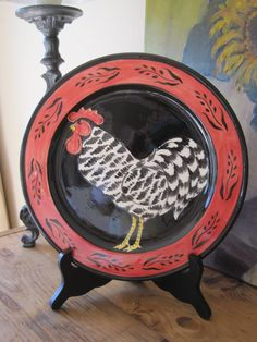 Vintage Hand Painted Decorative Plate Black and by sprucedroost $44.00 & Pair Decorative Plates Bowls Rooster Hen Chicken Hand Painted Mexico ...