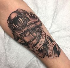 My first tattoo! Asthenia Astronaut by Soledad del Real at Black Hive Tattoo, Jacksonville, Florida