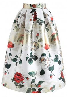 07d67b190422 Vivid Rose Printed A-Line Midi Skirt in White