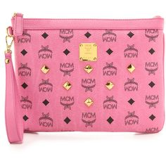 Mcm Zip Top Pouch - Pink ($330) ❤ liked on Polyvore featuring bags, handbags, clutches, zip pouch, mcm purse, zip top pouch, pocket purse and pink clutches