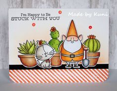 MFT You Gnome Me; MFT Cool Cat; plants; punny; stuck with you; amazing coloring