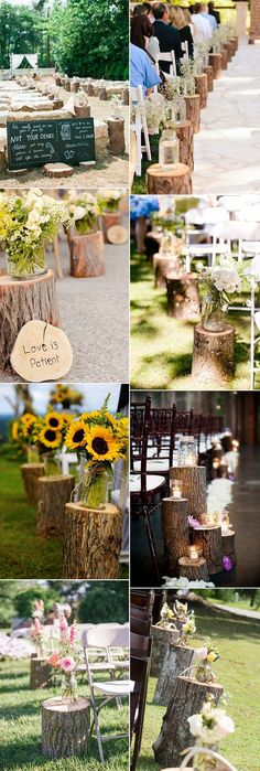country rustic wedding aisle decoration ideas with tree stumps #weddingideas #weddingdecor #rusticwedding #countrywedding #weddingaisle