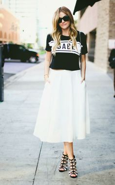 T-shirt and white skirt  http://lifeandcity.tumblr.com
