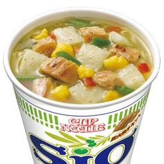 Cup Noodle, Salt with Olive oil and Chicken@カップヌードル しお  「鶏の香草焼き」をイメージしたオリーブオイルが香る洋風しお味の「カップヌードルしお」。オリーブオイル、バジル、ガーリックの風味アップで、さらに洋風感が味わえるようになりました。
