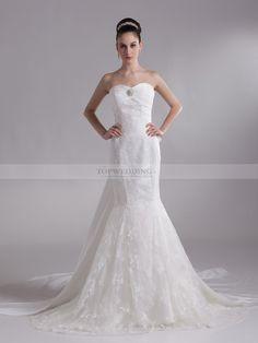 Dayami - Robe de mariée sirène sweetheart traîne mi-longue avec broche et noeud papillon en dentelle