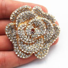 Find More Brooches Information about 2.4 Inch Large Gold Diamante Crystals Rose Brooch Luxury Design Wedding Broaches,High Quality brooch peacock,China wedding coats for brides Suppliers, Cheap wedding dress brooches from Best Wishes Jewelry Factory(Mini Order 5USD) on Aliexpress.com