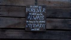 Love you forever wood sign hand painted by PurplePaisleyPalace