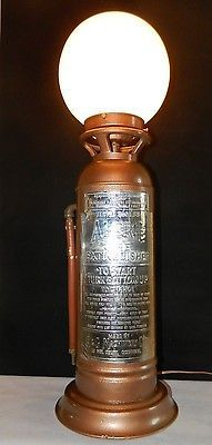 "Antique Rare Modified ""Alert"" Fire Extinguisher Globe Lamp With 2 Way Switch Antique Lighting, Industrial Lighting, Cool Lighting, Lighting Ideas, Lighting Design, Antique Rare, Firefighter Decor, Globe Lamps, Fire Equipment"