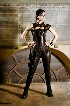 Steampunk fashion/cosplay ~ asymmetrical leather corset - This is so much cooler than the frou frou look.