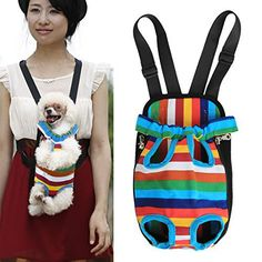 Pet Dog Cat Puppy Carrier Backpack Front Tote Nylon Bag Travel Hiking Riding (Rainbow, M) - http://www.thepuppy.org/pet-dog-cat-puppy-carrier-backpack-front-tote-nylon-bag-travel-hiking-riding-rainbow-m/
