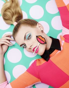 Great story >Maryna Linchuk stars in a fun pop-art beauty story for the March 2013 issue of Vogue Japan shot by Lacey, styled by Beth Fenton with make-up by Andrew Gallimore. Pelo Editorial, Beauty Editorial, Editorial Fashion, Makeup Editorial, Fashion Editor, Vogue Japan, Pop Art Fashion, Fashion Shoot, Trendy Fashion