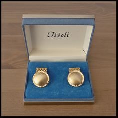 "TIVOLI Vintage NOS Pair Gold Mesh Chain Wraparound Cufflinks ""FORMAL"" Boxed"