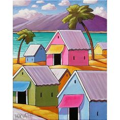 PAINTING ORIGINAL Folk Art ♥ this! Tropical Carribean by SoloWorkStudio