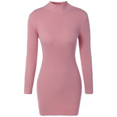 High Neck Bodycon Sweater Dress ($18) ❤ liked on Polyvore featuring dresses, body con dress, red sweater dress, body conscious dress, red dress and sweater dresses