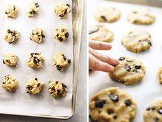 vegan almond flour cookie dough on a cookie sheet