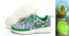 Wholesale Cheap Nike Roshe Run London Floral Womens Atomic Teal Green 511882 515 with Chalcedony Pendant & Volt Lace