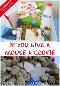 Use your senses to explore the storybook world of If You Give a Mouse a Cookie low cost easy to put together sensory bin!