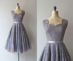Mercure dress vintage 1950s dress gray 50s lace by DearGolden
