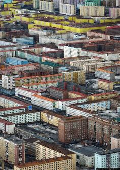 "natasha-from-russia: ""Norilsk, Russia. Norilsk is the world's Northernmost city with a population over people. Here are some photos of Norilsk taken from above. Due to its smog and acid rain. Urban Photography, Landscape Photography, Life Photography, Travel Photography, Christophe Jacrot, City From Above, Monument Valley, Urban Planning, Brutalist"