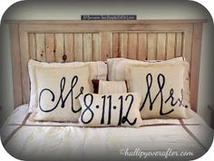Mr. And Mrs. Wedding Date Burlap Throw Pillows