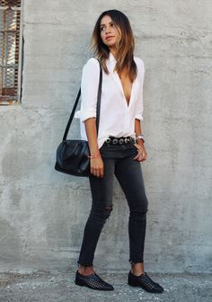 White Blouse + Black Skinny Jeans