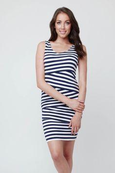 3ce16ea883cae Ripe Maternity Love Your Body Nursing Dress, Midnight blue and white  stripes - Izzy's Mum