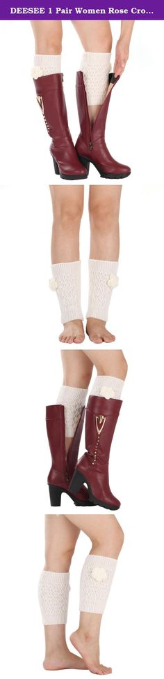 """DEESEE 1 Pair Women Rose Crochet Warm Knitted Leg Plush Cover Trim Boot Socks (White). ☛: Description: ☛:Material:Acrylic fibres ☛:Color:Beige,Black,Coffee,Dark Gray,Gray,Khaki,Red,White ☛:Length:25cm/8.3""""(The manual measurement may be a little error) ☛:For Adult wear ☛:Soft and comfortable ☛:Package:1Pair socks ☛:Our leg warmers are any boot's best friend. ☛: We love them with rain or ankle-length boots. ☛:You can Pair them with tights, leggings, skirts, skinny jeans for a sweet cozy…"""