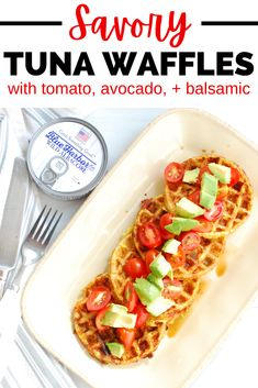 These tuna waffles are one of the best canned tuna recipes out there! You'll love these cheesy, flourless waffles – which happen to be packed with protein! – topped off with tomatoes, avocado, and balsamic vinegar. It's a perfect savory dish for an easy weeknight dinner. (sponsored) Best Canned Tuna, Canned Tuna Recipes, Shellfish Recipes, Seafood Recipes, Keto Recipes, Healthy Recipes, Best Lunch Recipes, Tzatziki Recipes, Healthiest Seafood