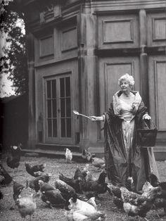 Deborah Cavendish nee Mitford, then Duchess of Devonshire, feeding her hens in a silk taffeta ballgown and wrap, photo by Bruce Weber, 1995 Herzogin Von Devonshire, Ansel Adams, Old Pictures, Old Photos, The Duchess Of Devonshire, Mitford Sisters, Nancy Mitford, Bruce Weber, Looks Vintage