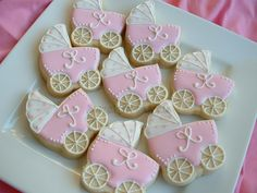 Baby Shower Cookies - 1 dozen baby stroller cookies - Baby carriage cookie Favors - Personalized cookies. $36.00, via Etsy.