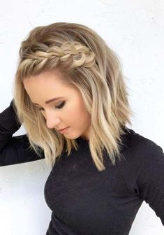 41 Pretty Braids for Short Blonde Haircuts in 2018 Braided Hairstyles Short Blonde Haircuts, Prom Hairstyles For Short Hair, Braided Hairstyles For Wedding, Braids For Short Hair, Blonde Braids, Simple Hairstyles For Medium Hair, Haircut Short, Haircut Styles, Curled Hair With Braid
