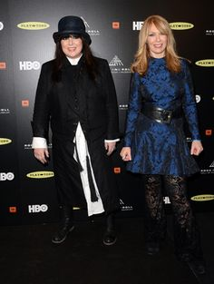 Ann Wilson, left, and Nancy Wilson of Heart pose in the press room at the 28th annual Rock and Roll Hall of Fame Induction Ceremony at Nokia Theatre L.A. Live on April 18, 2013 in Los Angeles.
