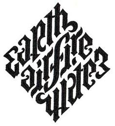 Earth, Air, Fire, Water by John Langdon (Ambigram commissioned for Dan Brown's the New York Times bestseller Angels & Demons used in the book and feature film. Calligraphy Letters, Typography Letters, Typography Design, Logo Design, Earth Air Fire Water, Earth Wind & Fire, Water 3, Ambigramm Tattoo, Fate Tattoo