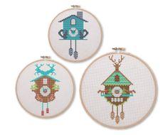 Set of 3 Teal Cuckoo Clocks Cross Stitch Pattern by tinymodernist