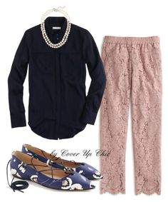 """""""WORK OOTD: J Crew Silk Pocket Blouse and Lace Pull-on Pants - 6/23/16"""" by cover-up-chic ❤ liked on Polyvore featuring J.Crew"""