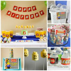Lego Birthday Party Ideas with Games Ideas, Food Table, Thank You Favors, Water bottle wraps, how to make lego head pops, banner and even printables