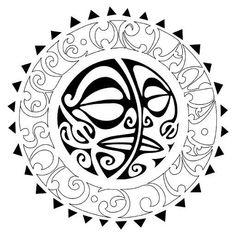 Tribal Sun Moon Tattoo Flash Tattoo #marquesantattoospatterns