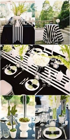 Black Gold Party Black and White Striped Wedding Inspiration! - Details and photos from my Nashville, Tennessee black and white striped wedding including tablescape details! Wedding Themes, Party Themes, Wedding Decorations, Table Decorations, Wedding Ideas, Wedding Inspiration, Party Ideas, Silver Decorations, Black And White Party Decorations