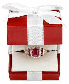 14k Rose Gold Ring, Emerald-Cut Ruby and Diamond