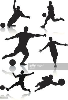 Vector silhouettes of male soccer players with reflections on the. Neon Cakes, Football Poses, Sports Themed Cakes, Soccer Cake, Edible Printing, Football Birthday, Big Cakes, Fondant Toppers, Fondant Tutorial