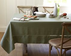 $140 Hemstitched Linen Tablecloth, 70 x 126 Olive.