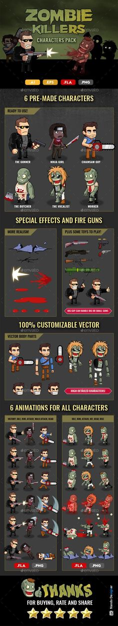 Zombie Killers - Characters n' Guns Pack - Sprites Game Assets