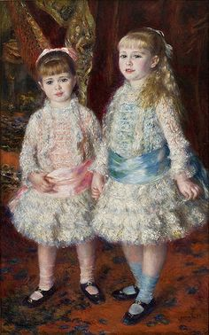 """""""Pink and Blue - The Cahen d'Anvers Girls"""" (P-A Renoir, 1881). In the Museu de Arte de São Paulo, São Paulo, Brazil. The two girls (Alice on the left, Elisabeth on the right) were daughters of the Paris banker   Louis Raphael Cahen d'Anvers. Alice, born 1876, died in Nice in 1965. Elisabeth (born 1874), had a more tragic fate: she was transported to Auschwitz, and died en-route, in March 1944."""