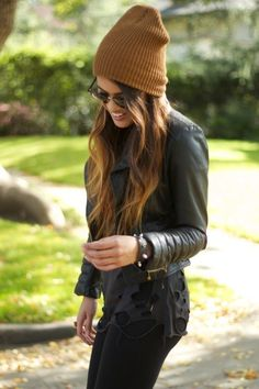 beanie, leather jacket...the essentials for the city.