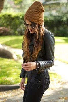 street style: mustard beanie w/ leather