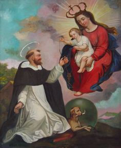 St Dominic receives the rosary Saint Dominic, Holy Rosary, Holding Baby, Catholic Saints, Blessed Mother, My Favorite Image, Mother Mary, Virgin Mary, Our Lady