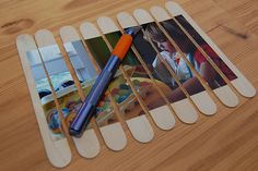"Popsicle stick puzzle...or use it write a note then mail the ""puzzle""."